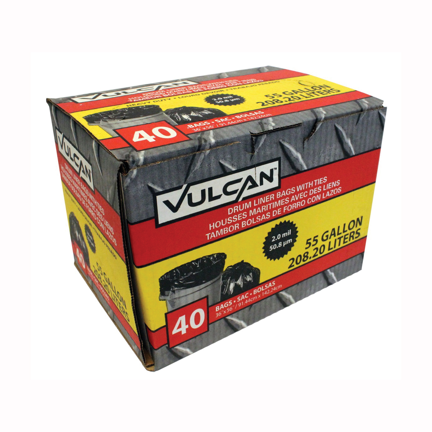 Picture of VULCAN FG-03812-10A Drum Liner, 55 gal Capacity, Poly, Black