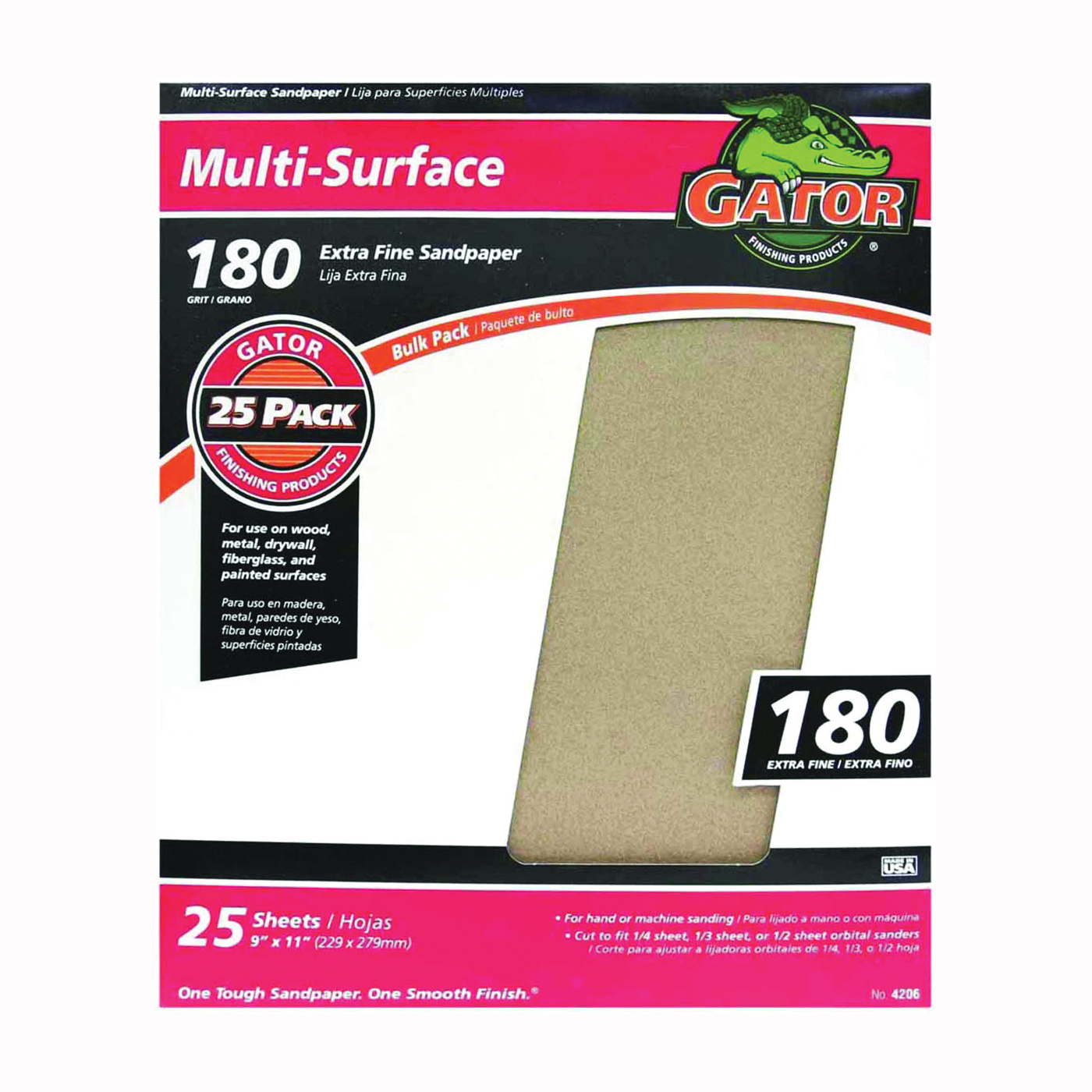 Picture of Gator 3261 Sanding Sheet, 11 in L, 9 in W, 180 Grit, Extra Fine, Aluminum Oxide Abrasive