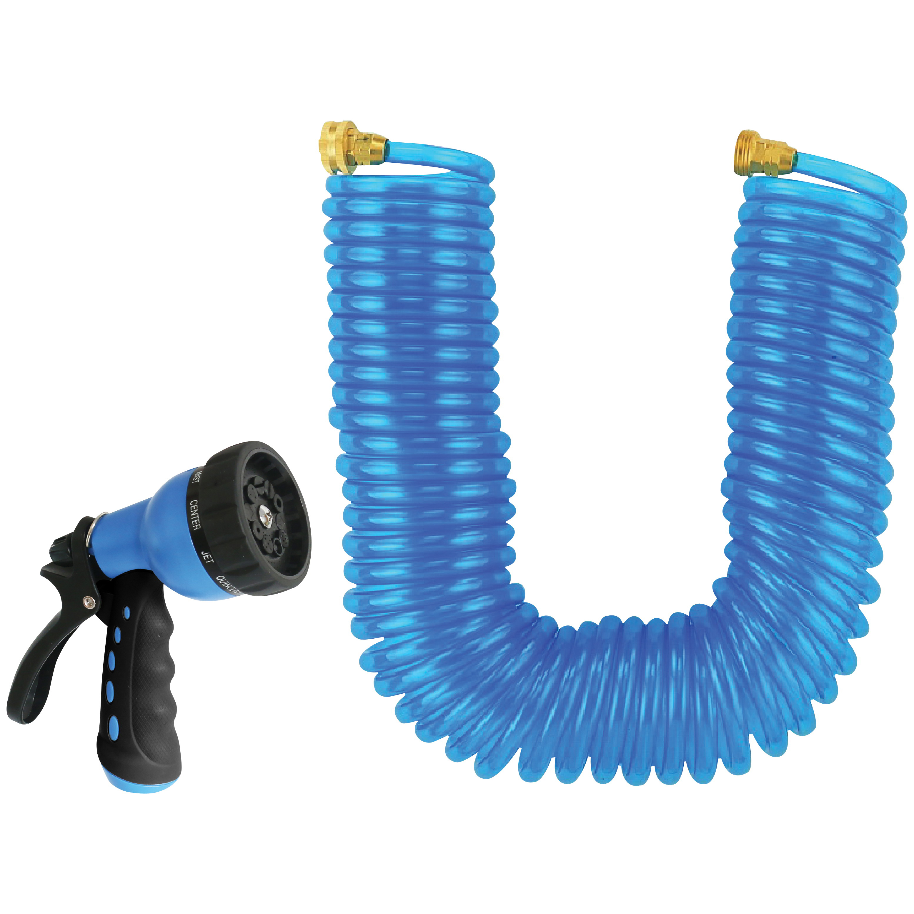 Picture of Landscapers Select GT-445030 Coil Hose with Nozzle Set, 50 ft L, Female x Male, PVC, Blue