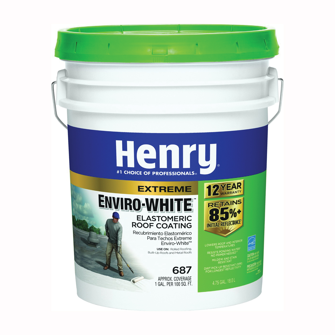 Picture of Henry HE687406 Elastomeric Roof Coating, White, 5 gal, Pail, Cream