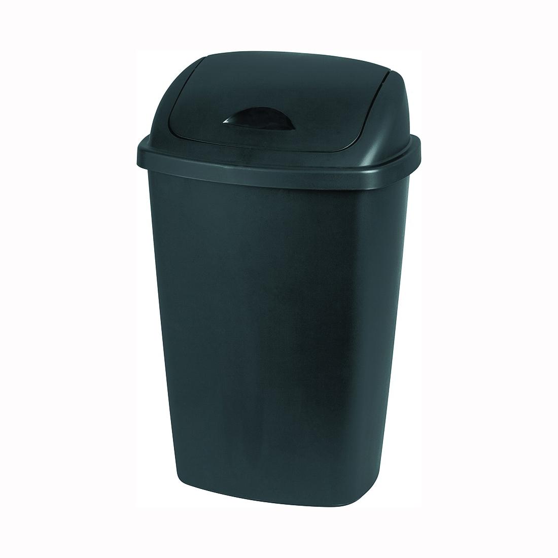 Picture of Sterilite 10889004 Waste Basket, 13.2 gal Capacity, Plastic, Black, 13-1/2 in W, 17-1/4 in D, 27 in H