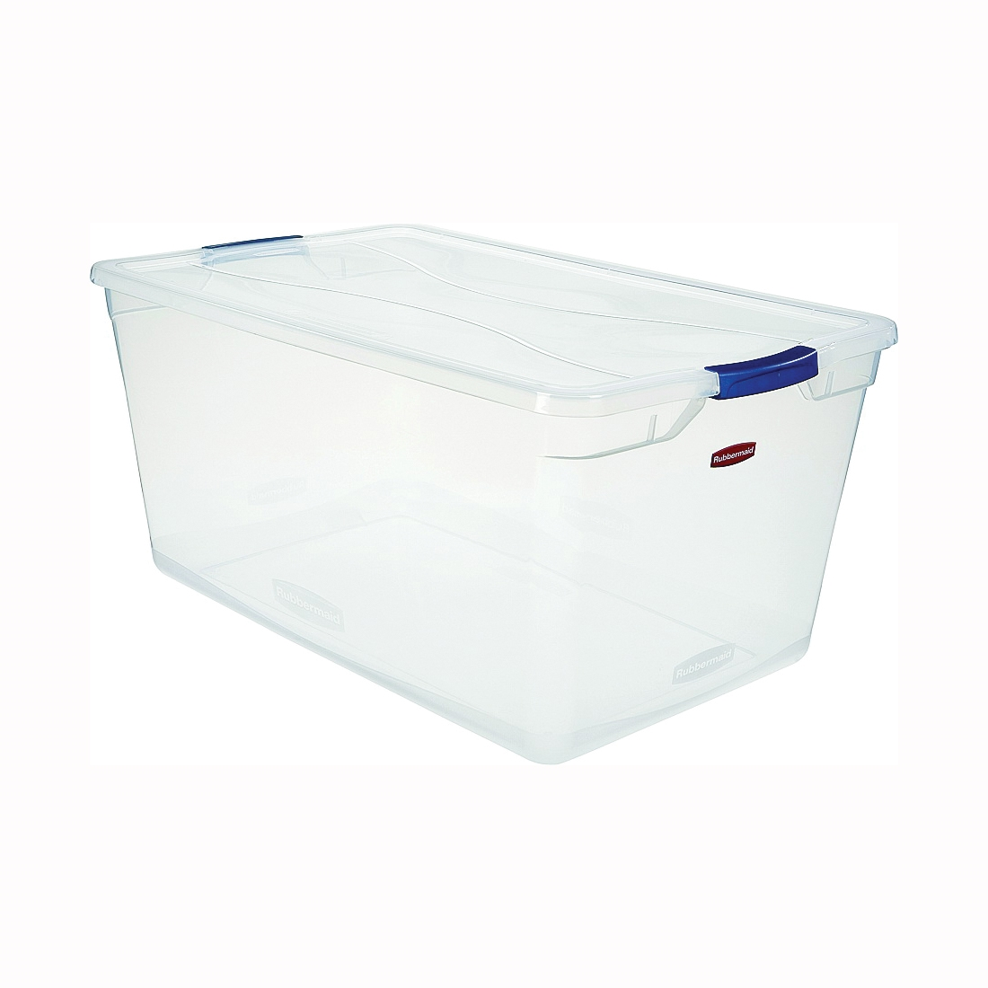 Picture of Rubbermaid Clever Store RMCC950001 Storage Container, Plastic, Clear Blue, 29 in L, 18 in W, 13.3 in H