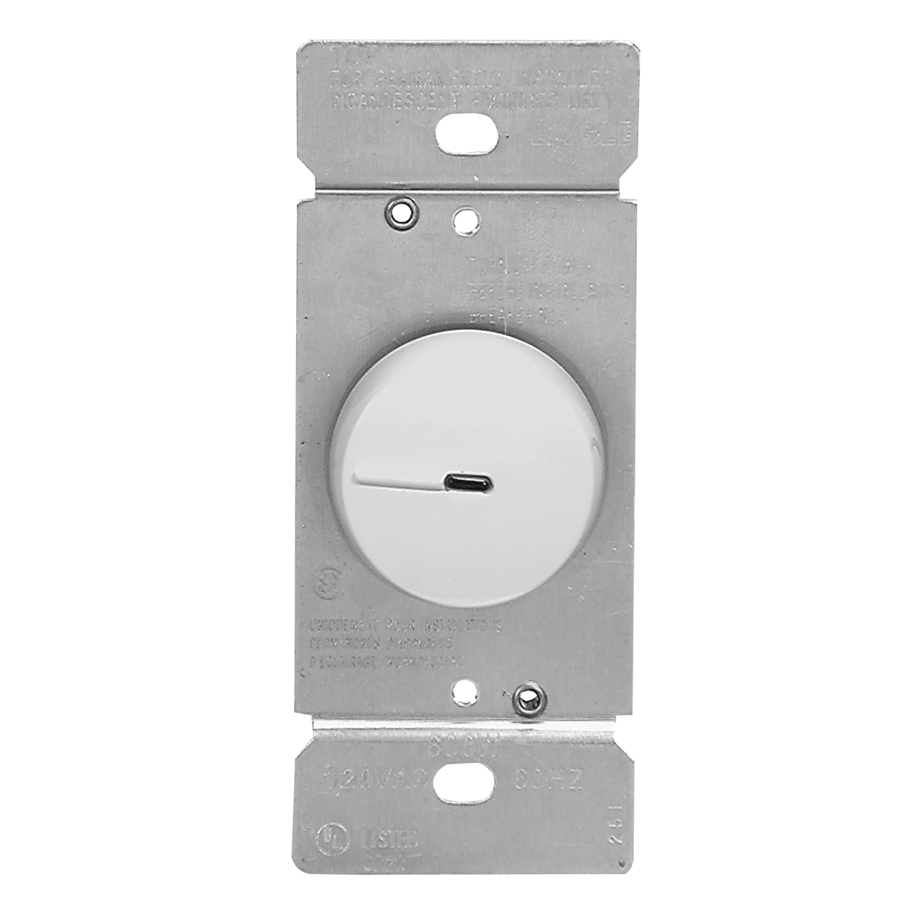 Picture of Eaton Wiring Devices RI306PL-W-K Rotary Dimmer, 120 V, 600 W, Incandescent Lamp, 3-Way, White