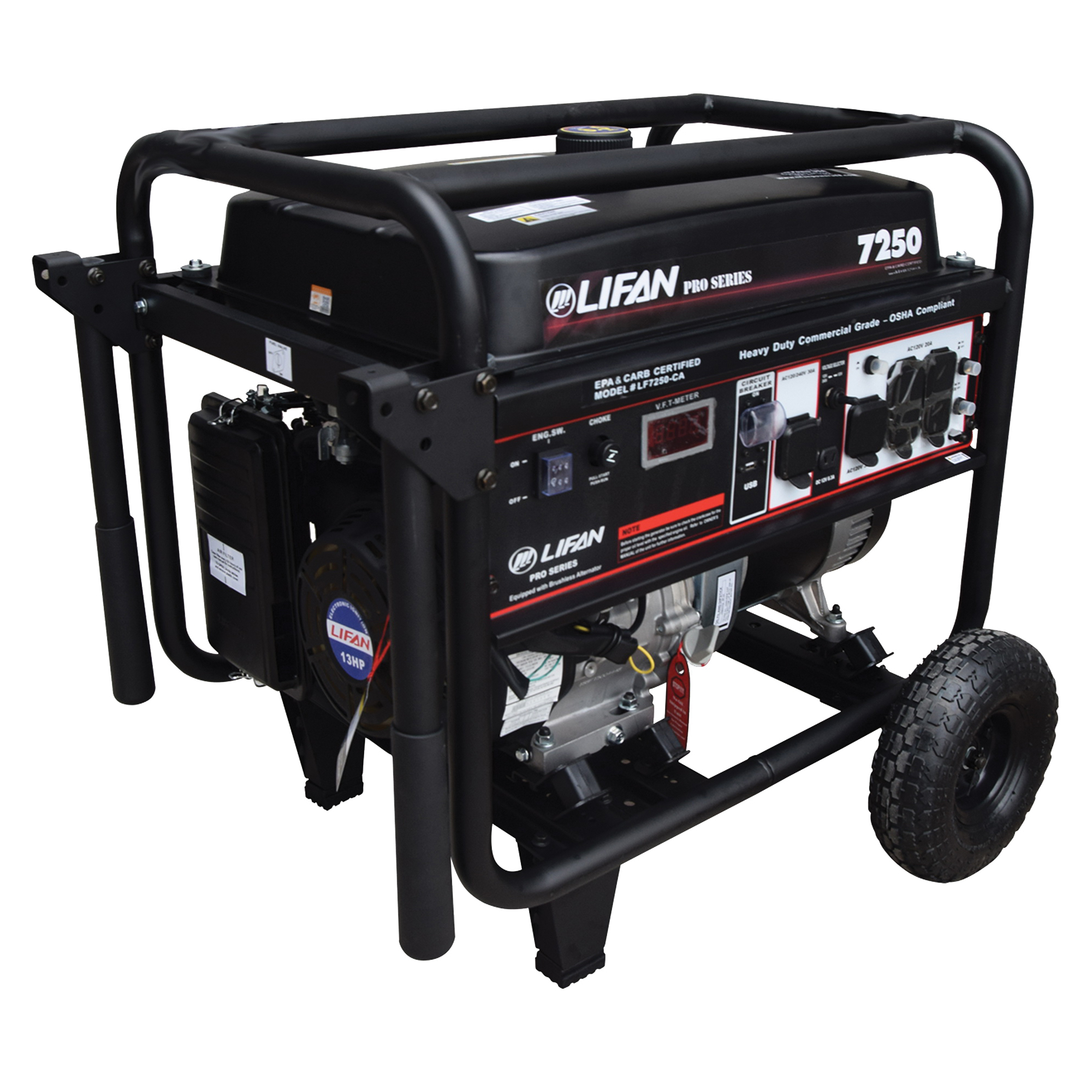 Picture of LIFAN LF7250 Generator, 50 A, 120/240 V, 7250 W Output, Unleaded Gas, 7.5 gal Tank, 12 hr Run Time, Recoil Start