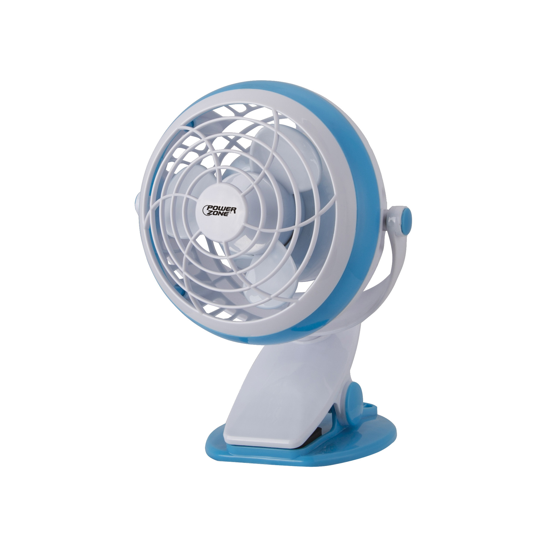 Picture of PowerZone QT-U409-D Desk and Clip-On Fan, 5 VDC, 4 in Dia Blade, 3-Blade, 1-Speed, 48 in L Cord