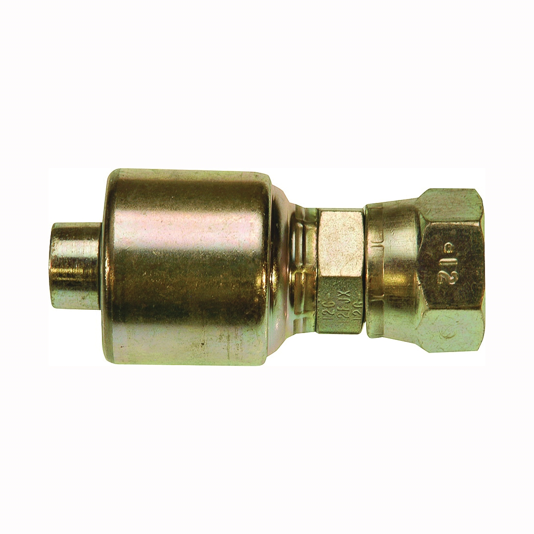 Picture of GATES MegaCrimp G25170-0406 Hose Coupling, 9/16-18, Crimp x JIC, Straight Angle, Steel, Zinc