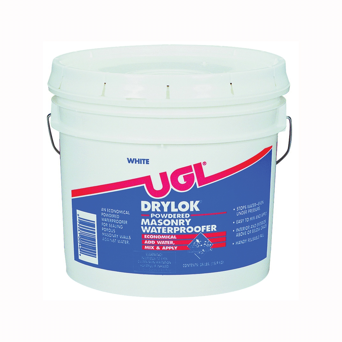 Picture of UGL DRYLOK 00542 Powder Waterproofer, White, Powder, 35 lb Package, Pail