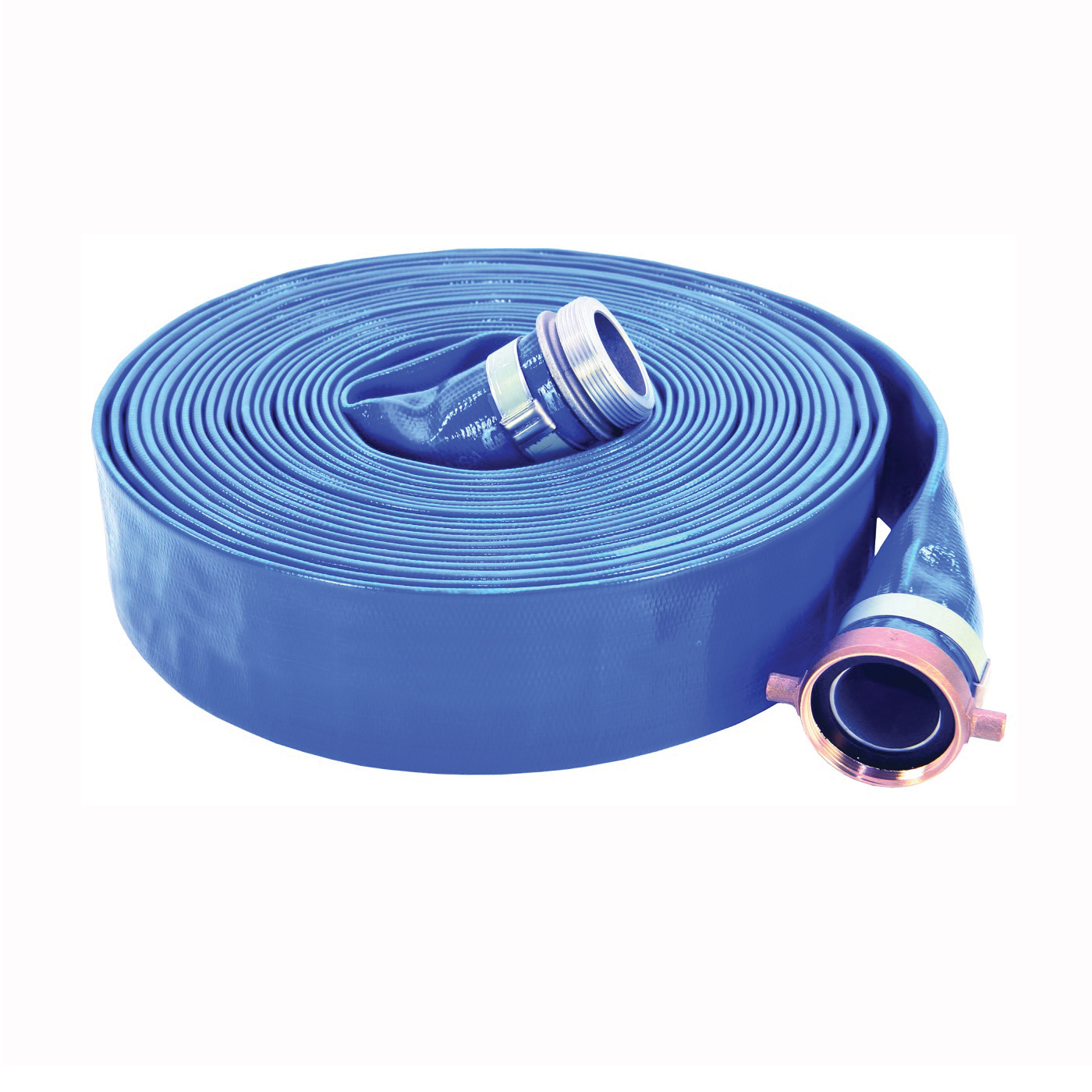 Picture of ABBOTT RUBBER 1147-3000-50-CE Pump Discharge Hose Assembly, 3 in ID, 50 ft L, Male x Female Coupling, PVC, Blue