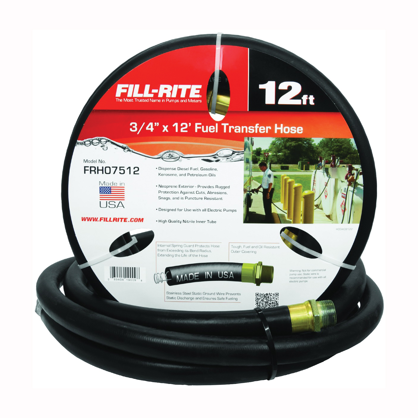 Picture of Fill-Rite FRH07512 Fuel Transfer Hose, 12 ft L, Male, 50 psi Pressure, Neoprene, Black