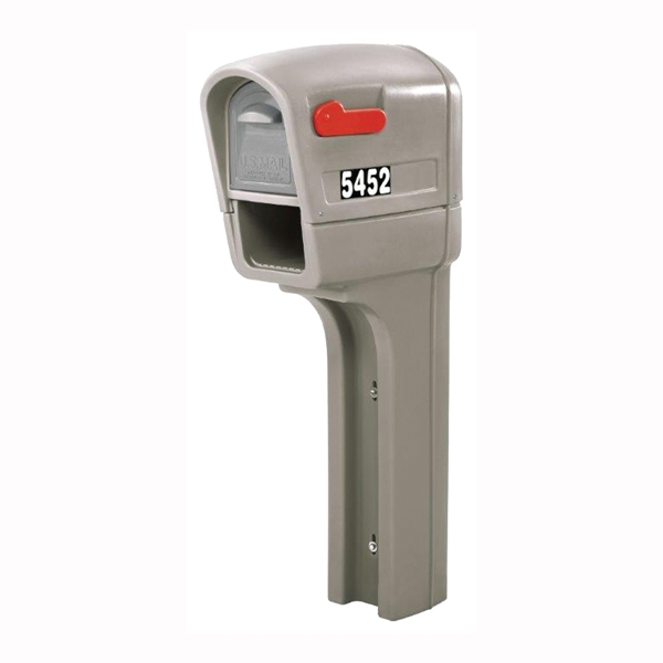 Picture of Mailmaster Trimline 545200 Mailbox, Poly, 12-1/2 in W, 23-1/4 in D, 51 in H, Stone Gray