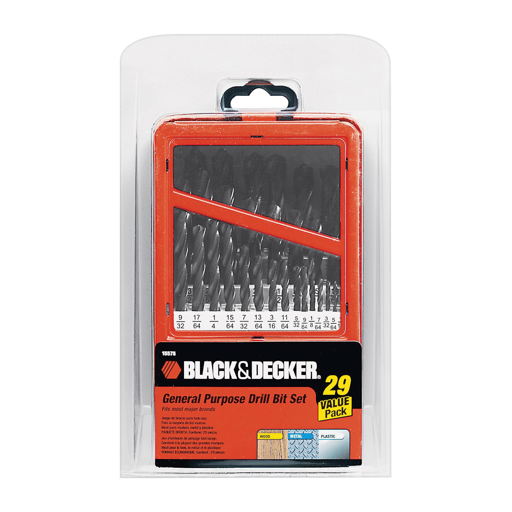 Picture of Black+Decker 15575 Drill Bit Set, General-Purpose, 29 -Piece, Steel, Metallic
