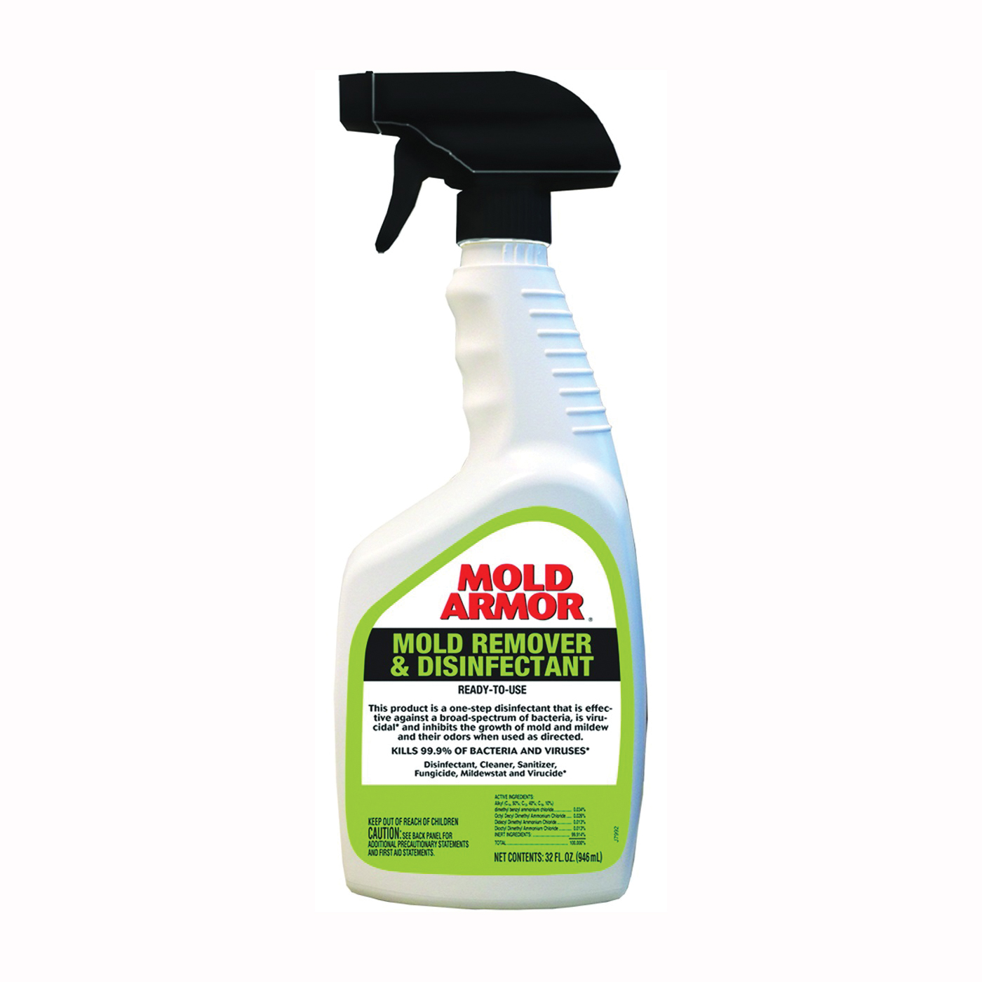 Picture of Mold Armor FG552 Mold Remover and Disinfectant, 32 oz Package, Bottle, Liquid, Benzaldehyde Organic, Clear
