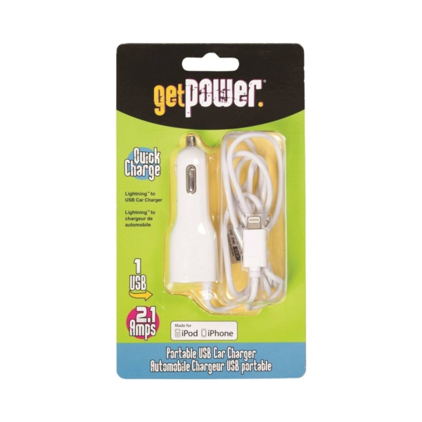 Picture of GetPower GP-PCUSB-IPH5 Vehicle Charging Cable, White