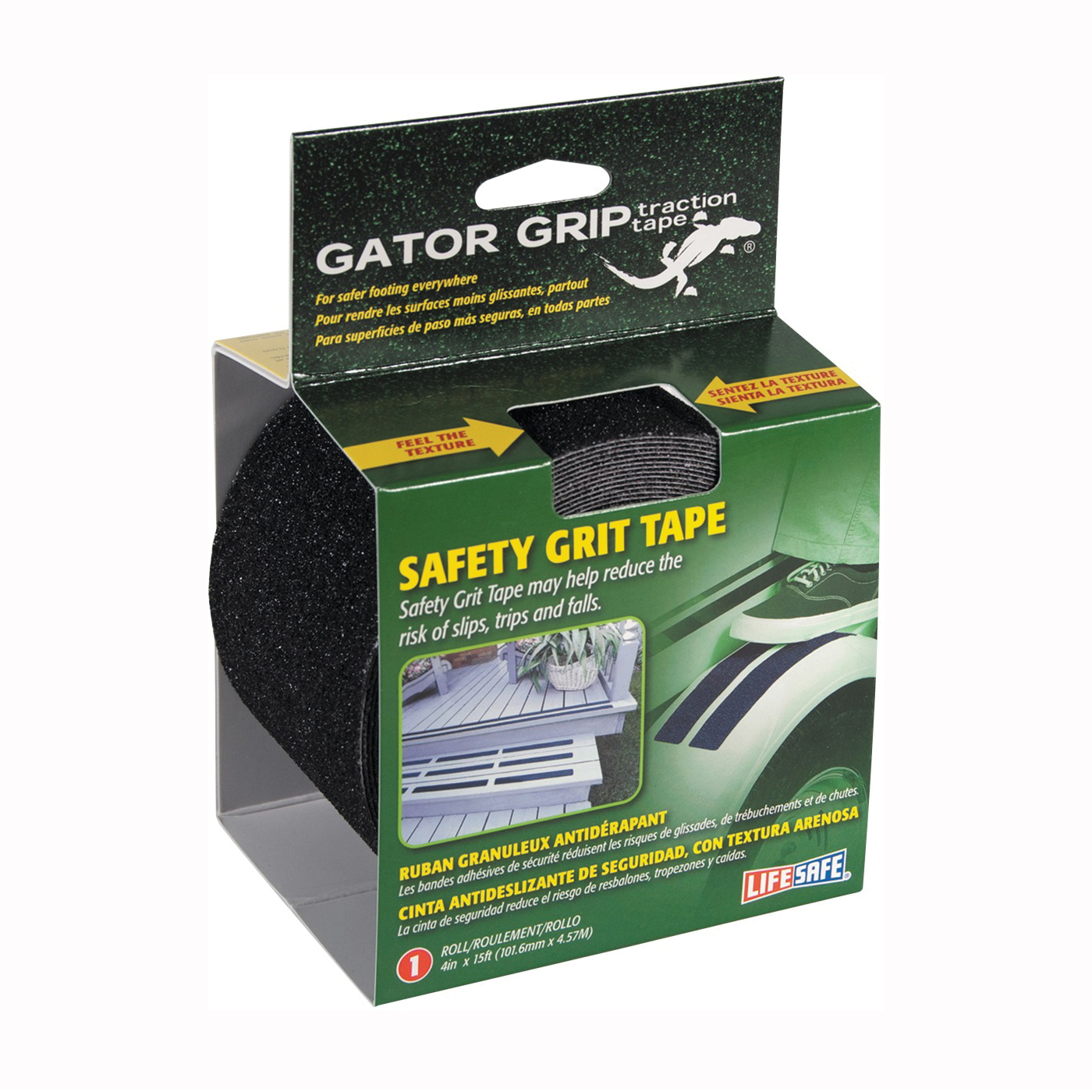 Picture of INCOM Gator Grip RE3952 Safety Grit Tape, 15 ft L, 4 in W, PVC Backing, Black