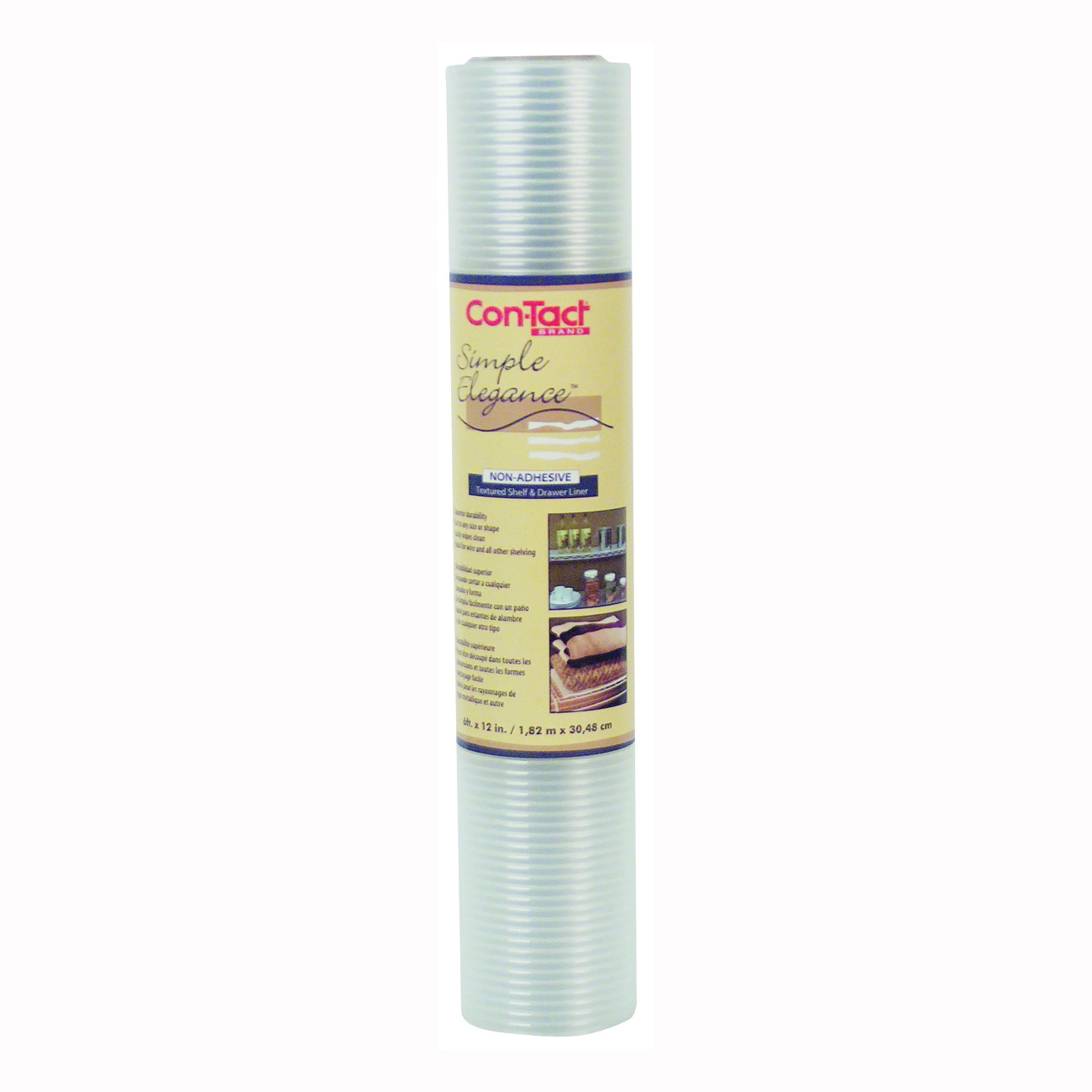 Picture of Con-Tact 06F-C8Q01-06 Ribbed Shelf Liner, 6 ft L, 12 in W, Vinyl, Clear
