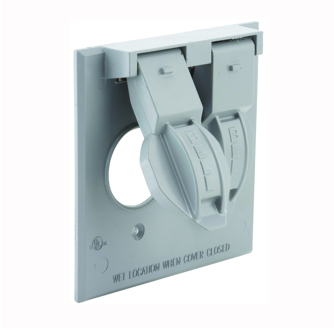 Picture of HUBBELL 5157-0 Cover, 1-13/32 in Dia, 4-17/32 in L, 4-17/32 in W, Metal, Gray, Powder-Coated