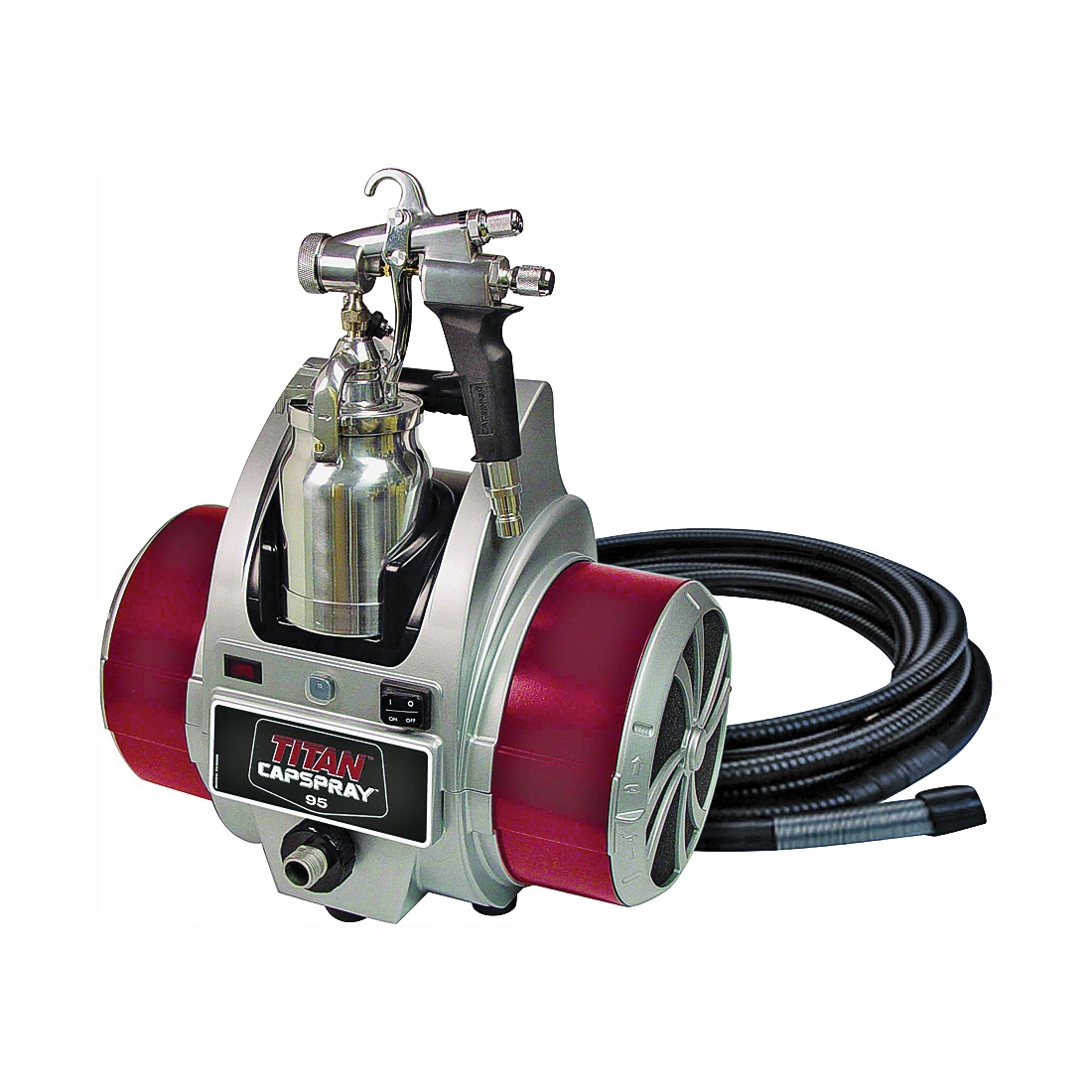 Picture of Titan 0524032 HVLP Paint Sprayer, 120 VAC, 13.8 A, 1 qt Tank, 0.051 in Nozzle, 12 in Pattern, 30 ft L Hose