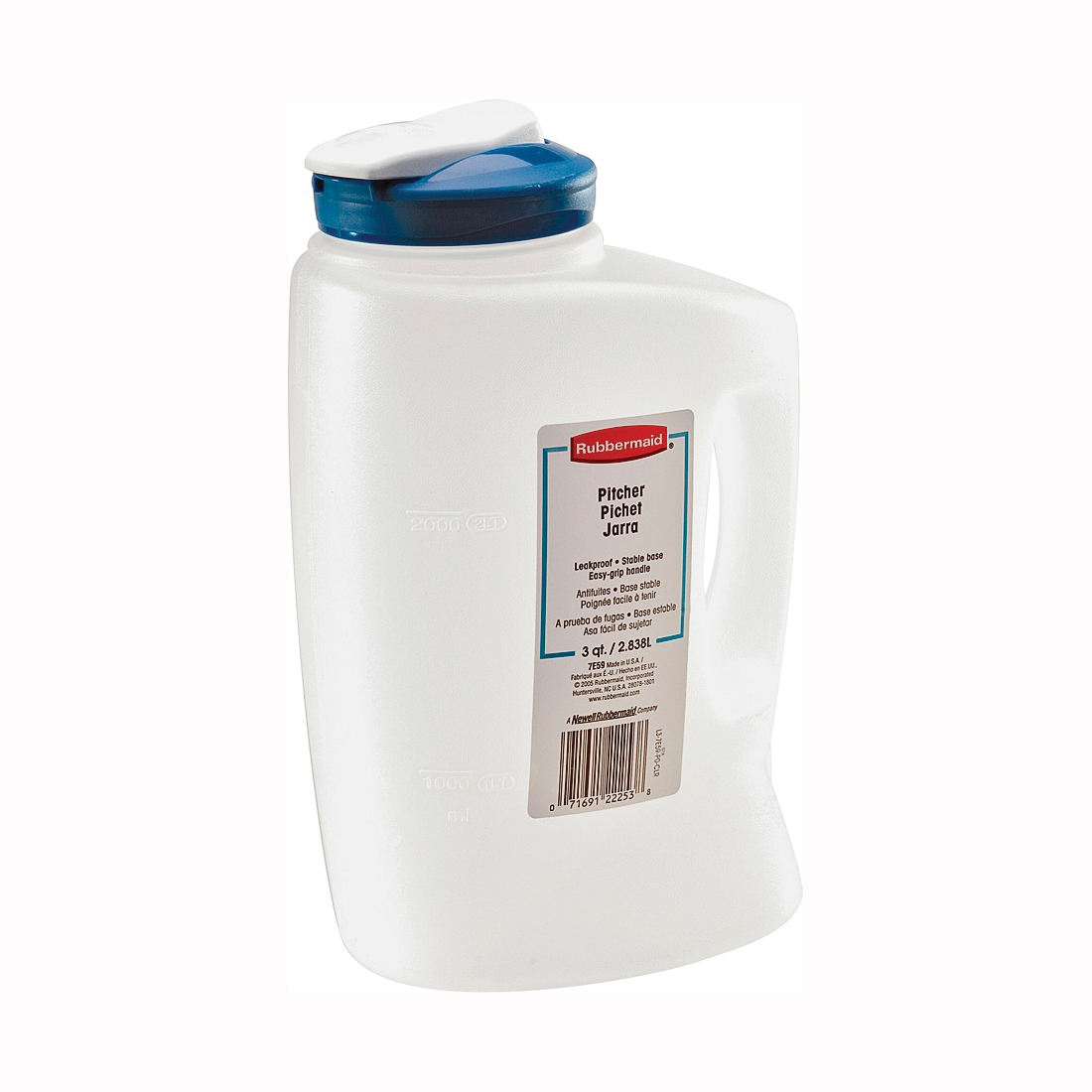 Picture of Rubbermaid 1776501 Beverage Bottle, 3 qt Capacity, 5-1/2 in L, 6.8 in W, 4.7 in H, Clear