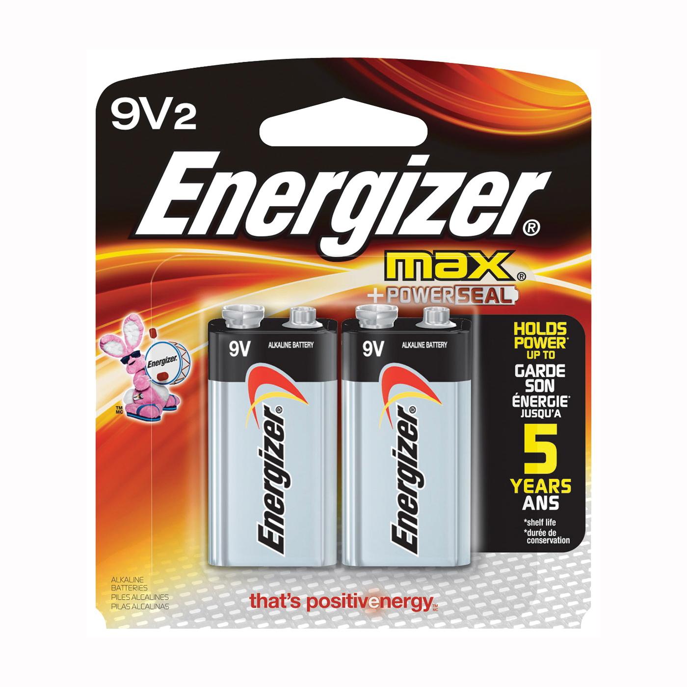 Picture of Energizer 522BP-2 Alkaline Battery, 9 V Battery, 625 mAh, 9 V Battery, Zinc, Manganese Dioxide, 2/PK