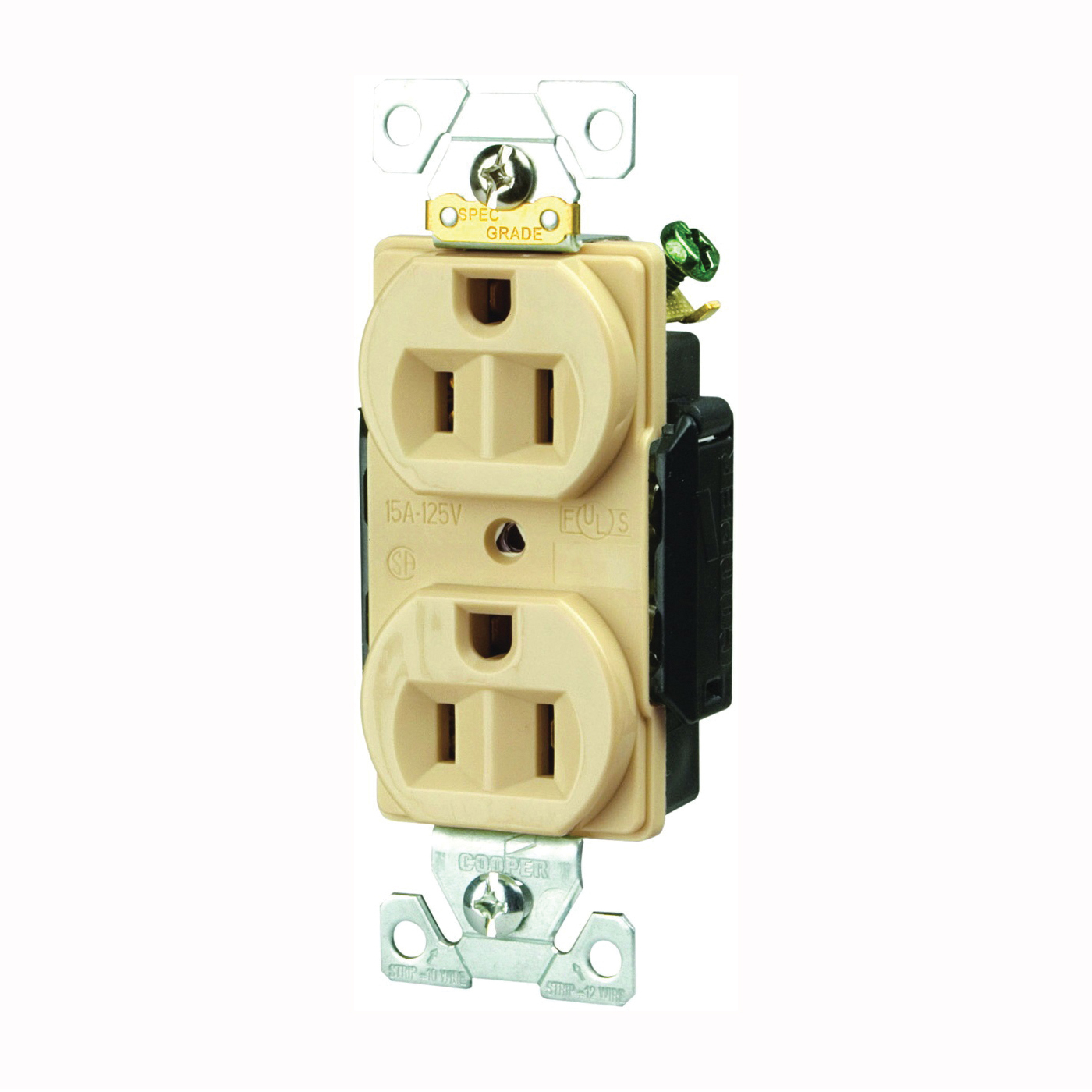 Picture of Arrow Hart AH5252 Series AH5252V Duplex Receptacle, 2-Pole, 15 A, 125 V, Back, Side Wiring, NEMA: 5-15R, Ivory