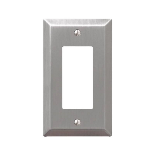 Picture of AmerTac Century 163RBN Rocker Wallplate, 4-15/16 in L, 2-7/8 in W, 1-Gang, Steel, Brushed Nickel