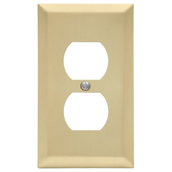 Picture of Amerelle 163DSB Duplex Receptacle Wallplate, 5 in L, 2-7/8 in W, 1-Gang, Steel, Satin Brass, Screw Mounting