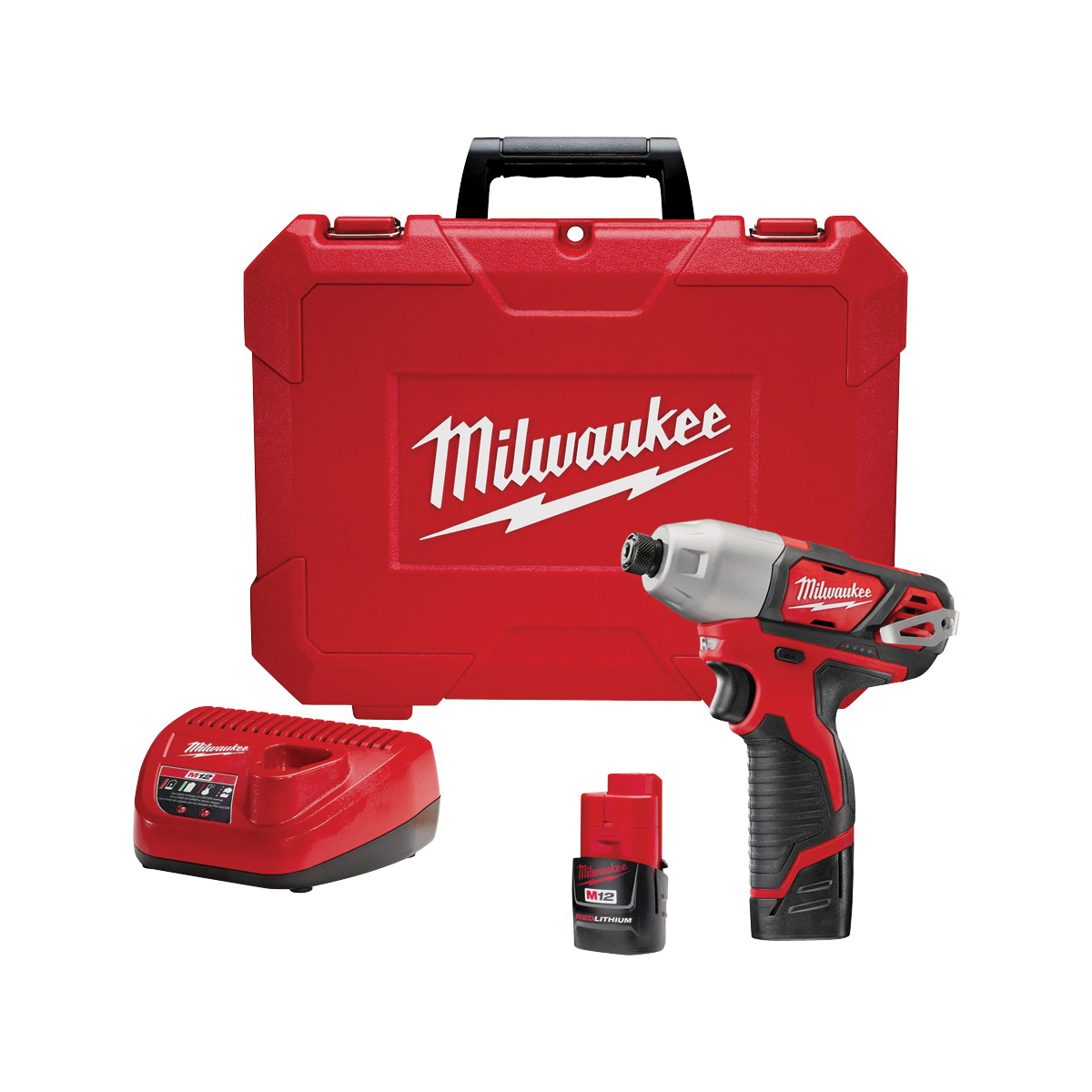 Picture of Milwaukee 2462-22 Impact Driver Kit, Kit, 12 V Battery, 1.5 Ah, 1/4 in Drive, Hex Drive, 3300 ipm IPM