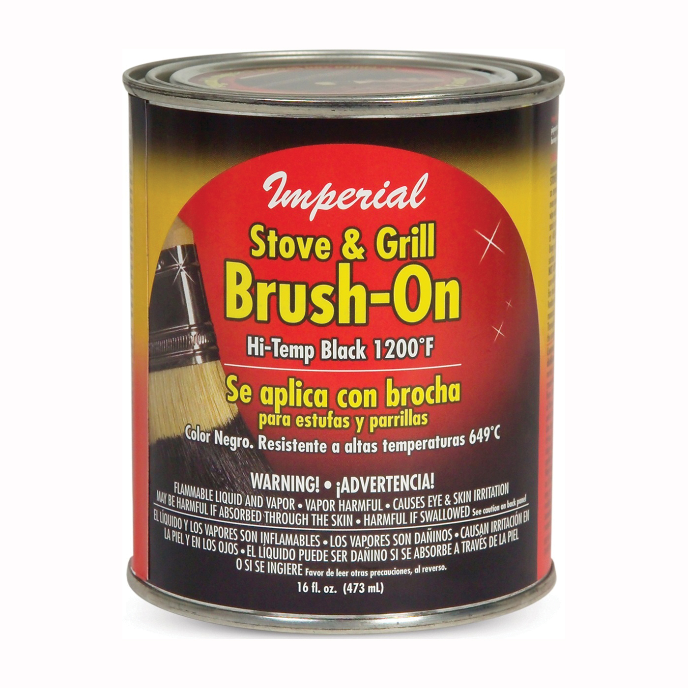 Picture of Imperial CH0134 Stove and Grill Paint, Liquid, Black, Solvent, 16 fl-oz Package, Can
