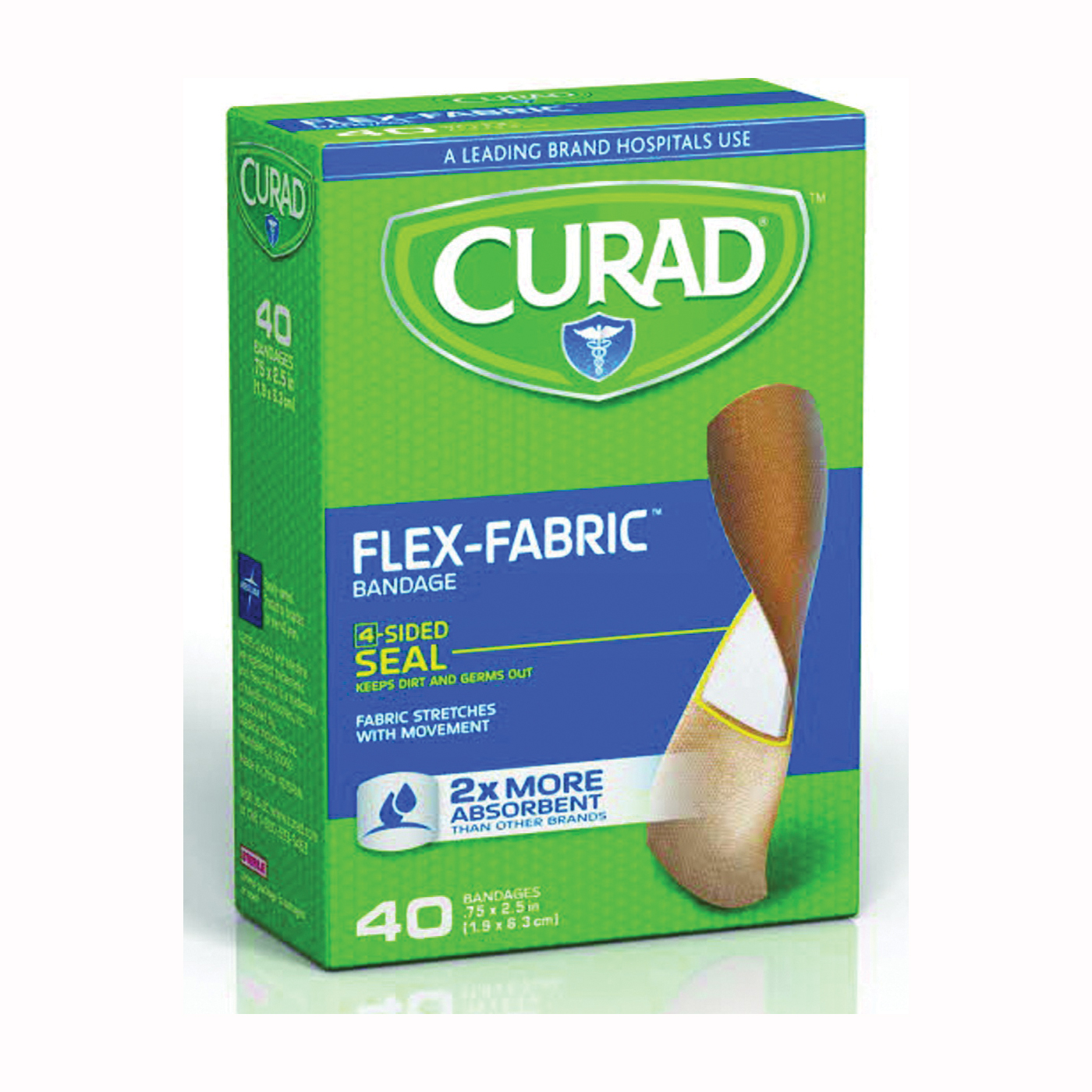 Picture of CURAD Flex-Fabric CUR45245 Adhesive Bandage, 3/4 in W, 2-1/2 in L, Fabric Bandage, 24, Case