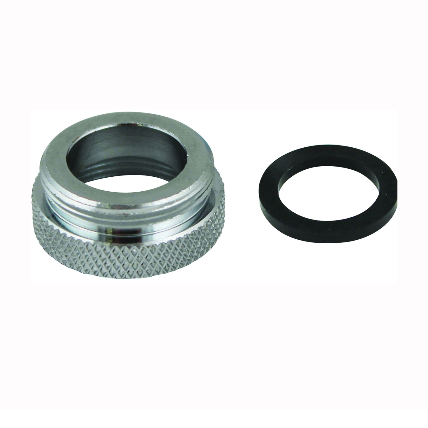 Picture of Plumb Pak PP800-61LF Faucet Aerator Adapter, 3/4-27 x 55/64-27 in, Female x Male, Chrome