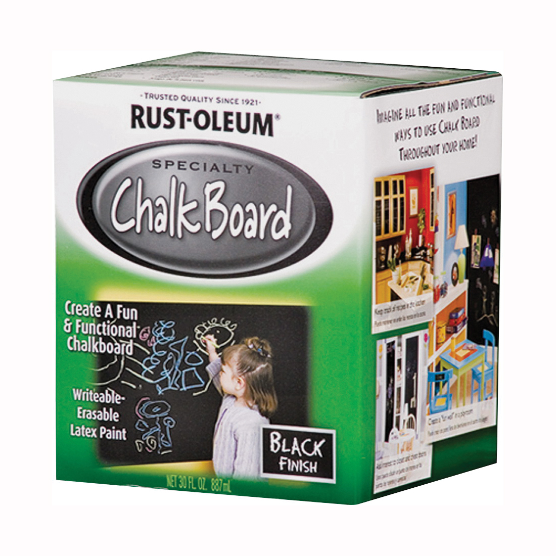 Picture of RUST-OLEUM SPECIALTY 206540 Chalkboard Paint Black, Mild, Black, 1 qt, Can