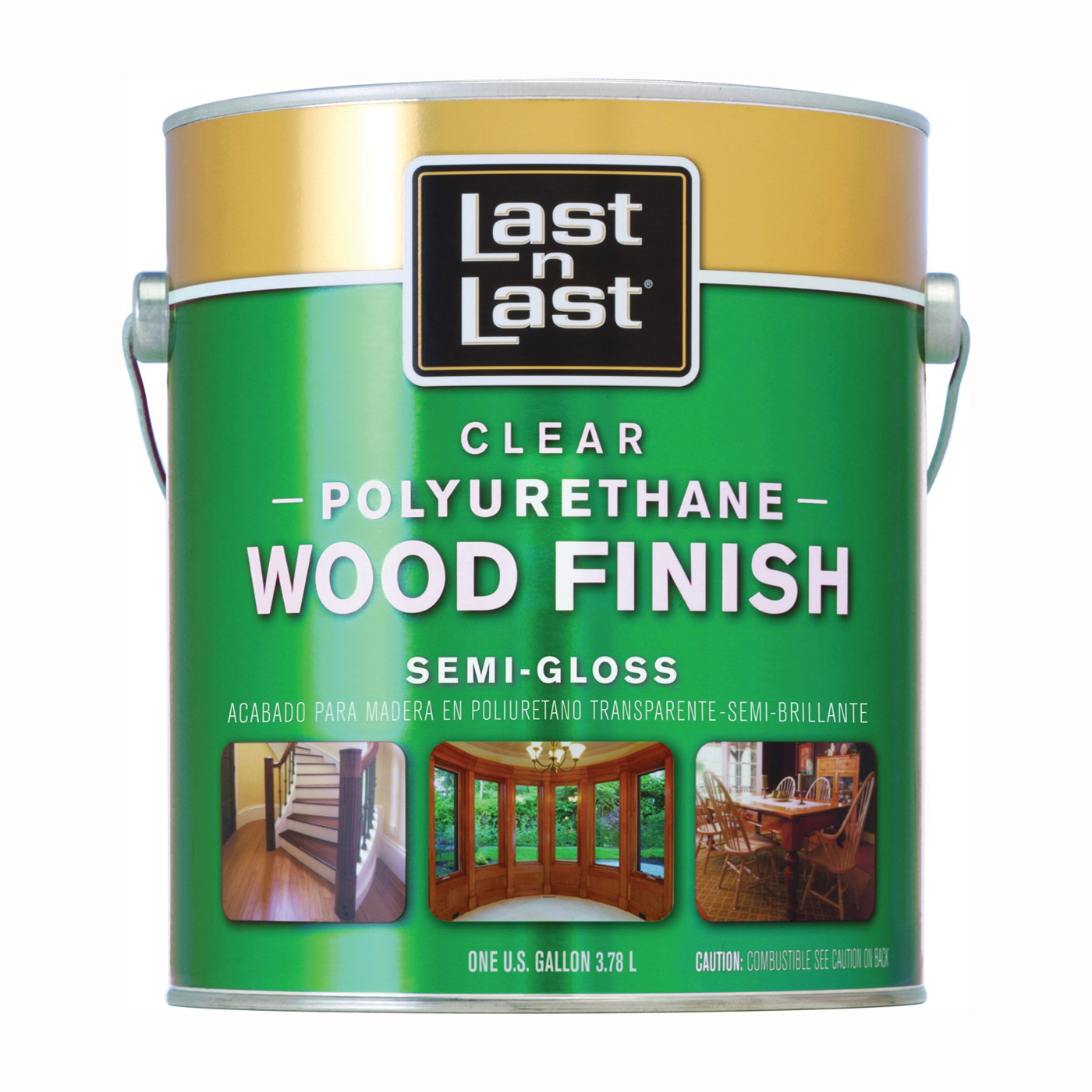Picture of Last n Last 53531 Polyurethane Wood Finish, Semi-Gloss, Liquid, Clear, 1 gal, Can