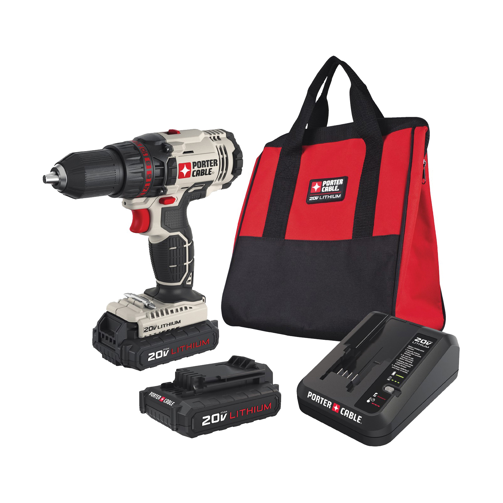 Picture of PORTER-CABLE PCC601LB Drill/Driver Kit, Kit, 20 V Battery, 1/2 in Chuck, Keyless Chuck, Battery Included: Yes