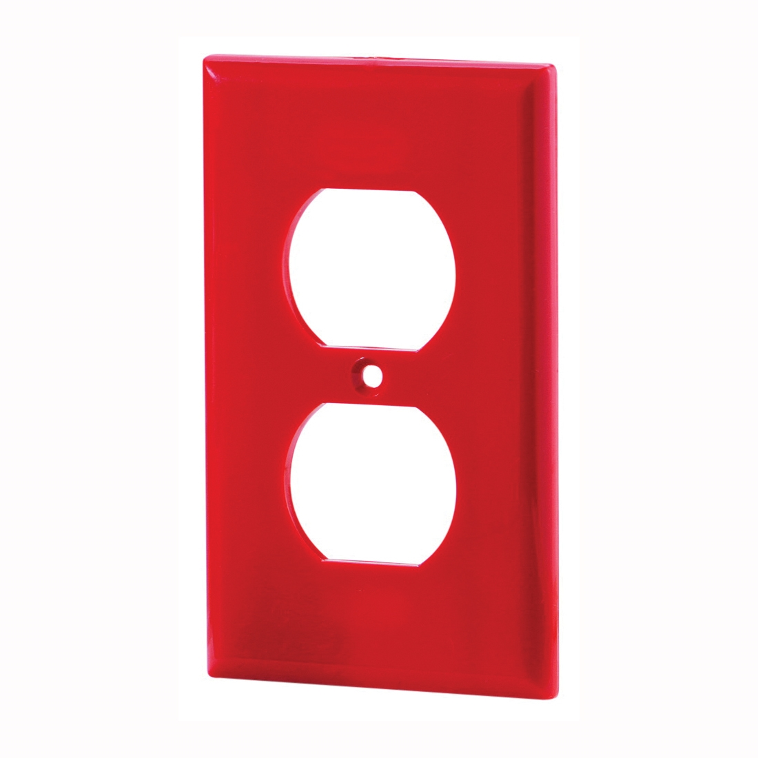 Picture of Eaton Wiring Devices 5132RD-BOX Duplex Receptacle Wallplate, 4-1/2 in L, 2-3/4 in W, 1-Gang, Nylon, Red
