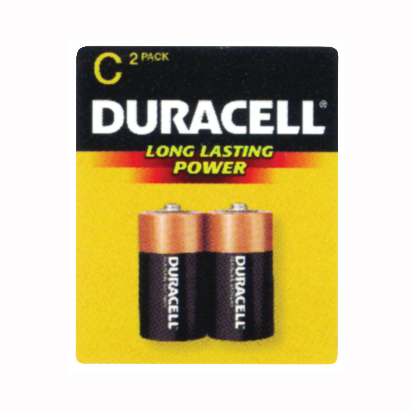 Picture of DURACELL MN1400B2Z Alkaline Battery, 1.5 V Battery, 7.8 Ah, C Battery, Manganese Dioxide, 2/PK