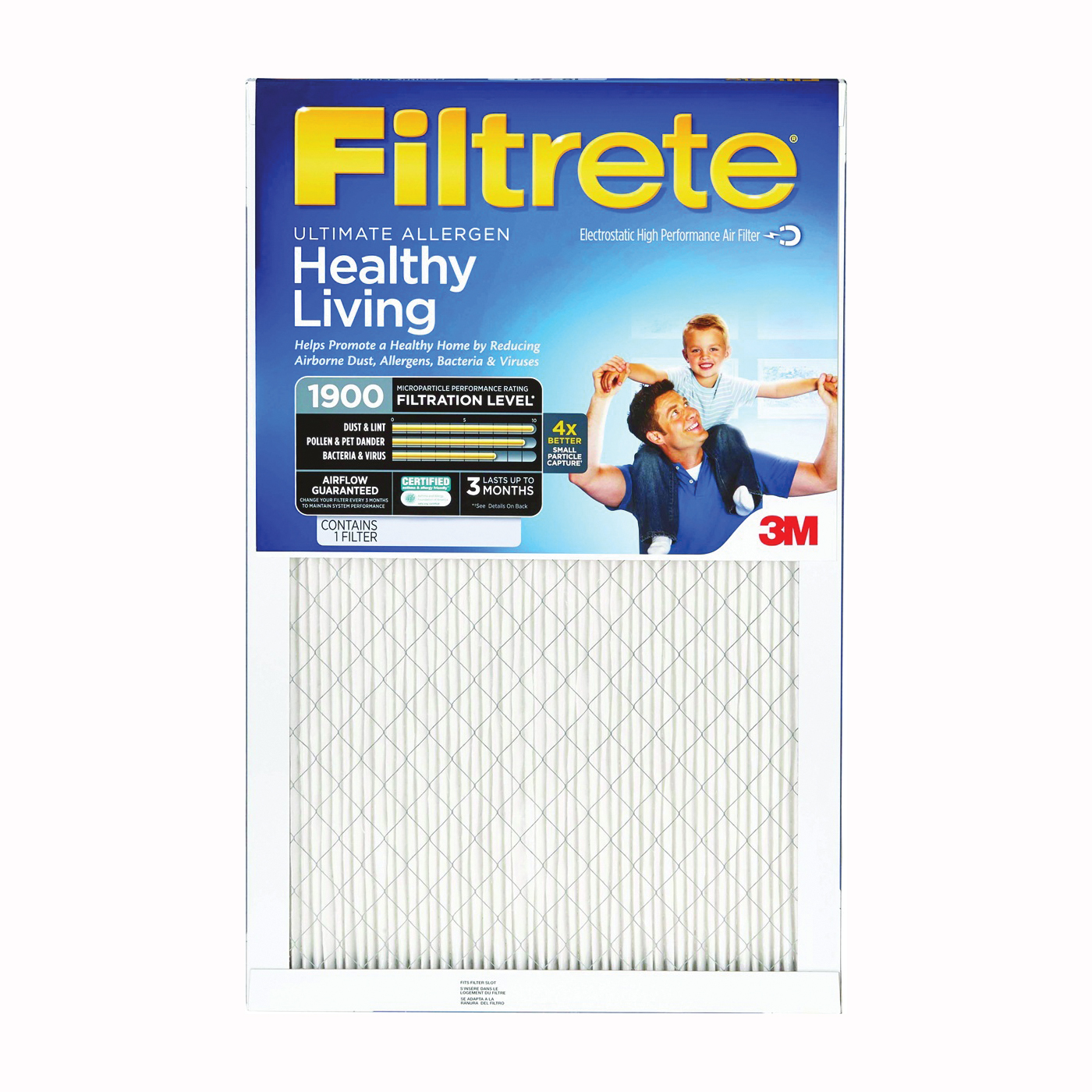 Picture of Filtrete UA01DC-6 Air Filter, 25 in L, 16 in W, 12 MERV, Microfiber Filter Media, Cardboard Frame