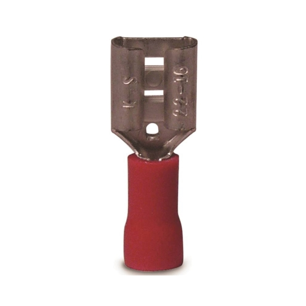 Picture of GB 10-141F Disconnect Terminal, 600 V, 22 to 16 AWG Wire, 1/4 in Stud, Vinyl Insulation, Red, 100/Clam