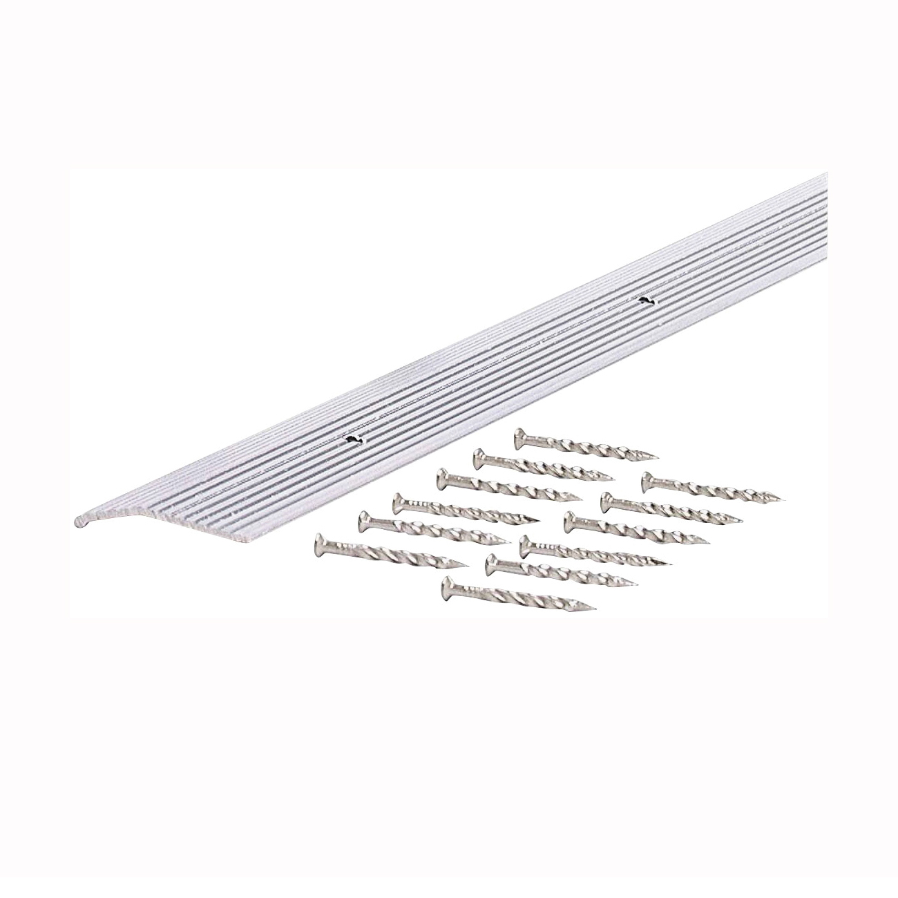 Picture of M-D 78071 Carpet Trim, 36 in L, 1.38 in W, Fluted Surface, Aluminum, Silver