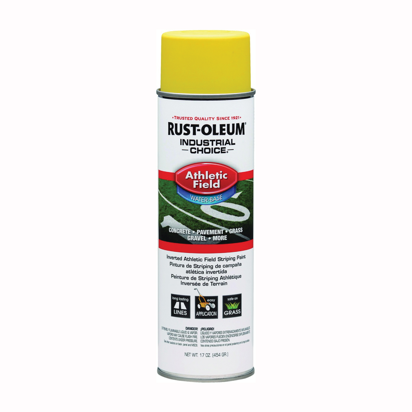Picture of RUST-OLEUM INDUSTRIAL CHOICE 206045 Athletic Field Striping Paint, Yellow, 17 oz, Aerosol Can