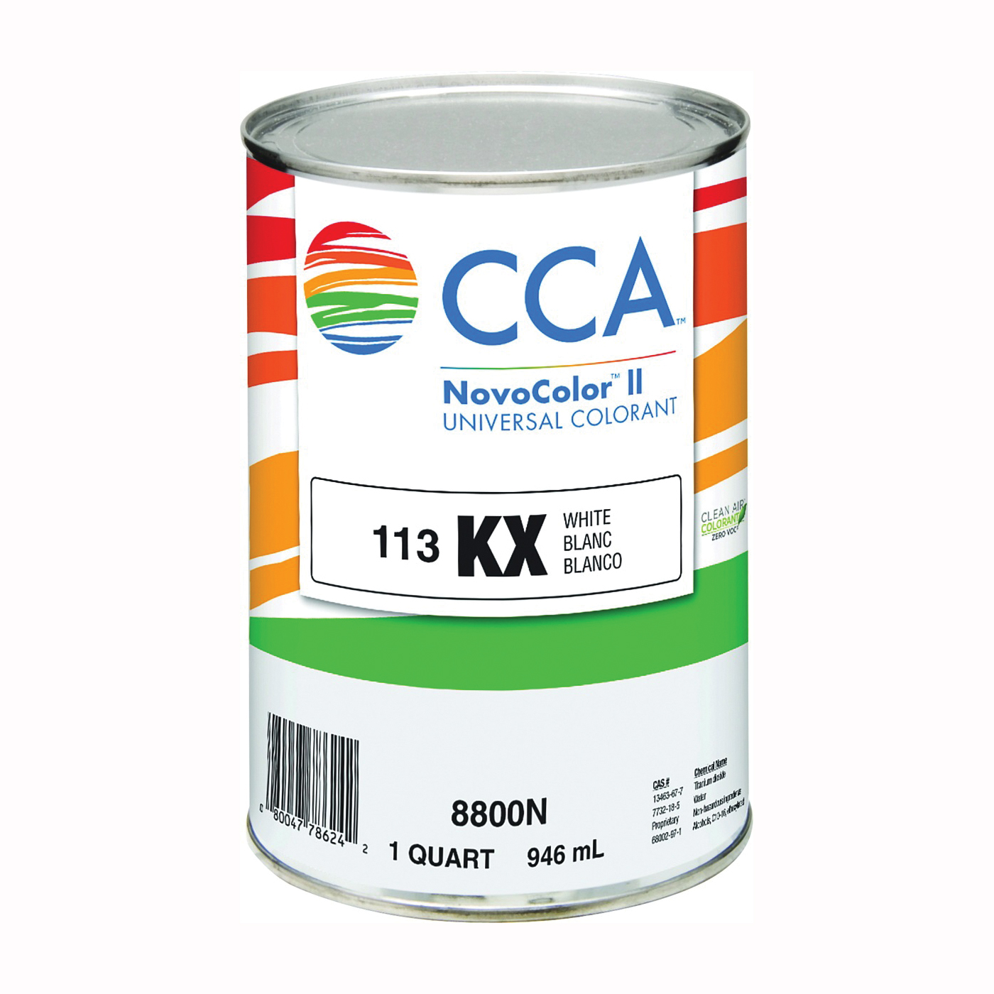 Picture of CCA NovoColor II 8800N Universal Colorant, White, Liquid, 1 qt Package