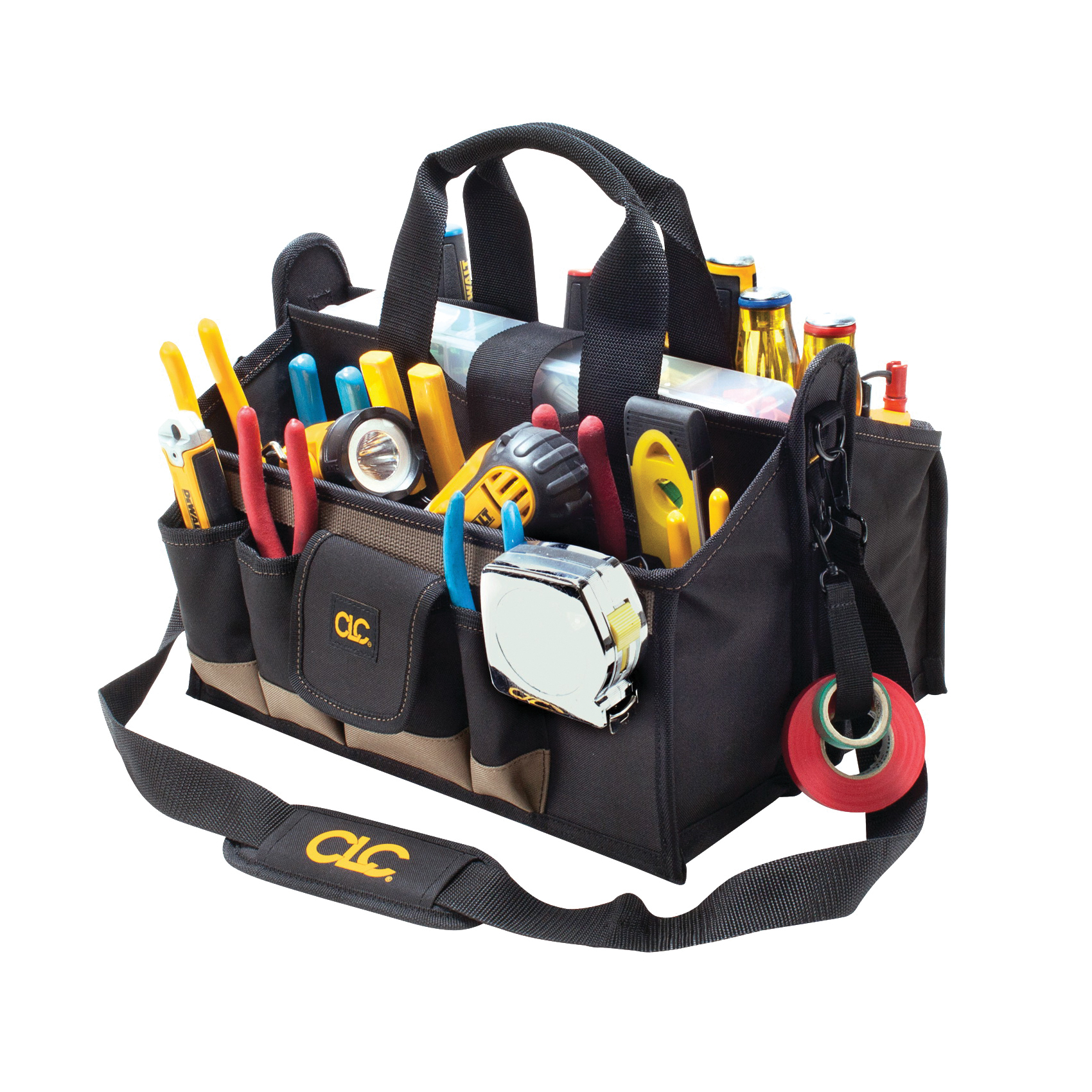 Picture of CLC Tool Works 1529 Center Tray Tool Bag, 9 in W, 9 in D, 16 in H, 17 -Pocket, Polyester