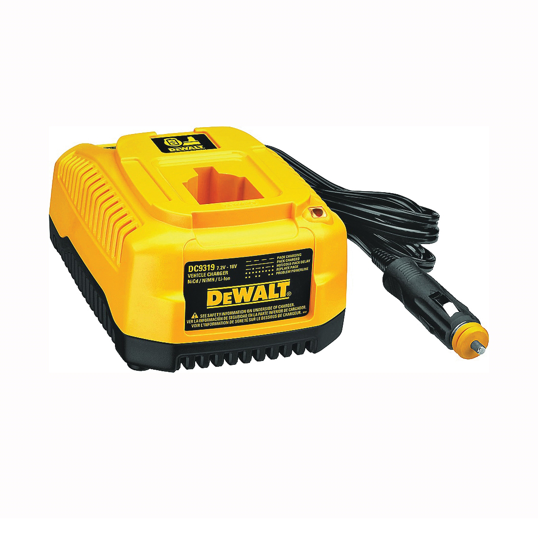 Picture of DeWALT DC9319 Vehicle Charger, 12 VDC Output, 1 hr Charge, 3 -Battery, Battery Included: No