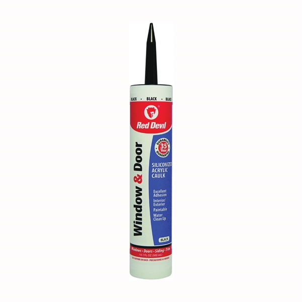 Picture of Red Devil 084660 Siliconized Acrylic Caulk, Black, -20 to 180 deg F, 10.1 fl-oz Package, Cartridge