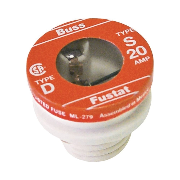 Picture of Bussmann BP/S-20 Time-Delay Plug Fuse, 20 A, 125 V, 10 kA Interrupt, Low-Voltage Fuse