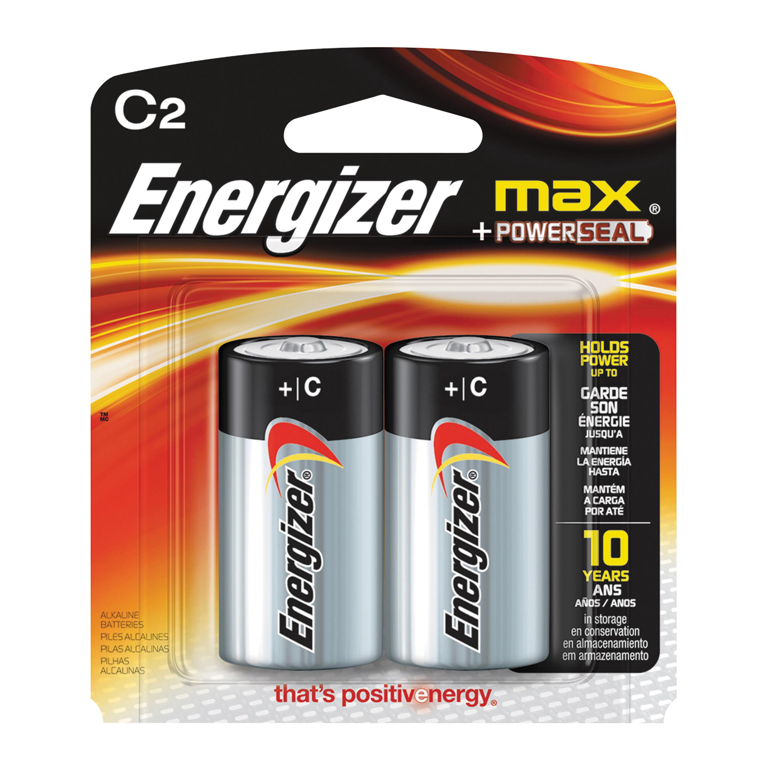 Picture of Energizer E93BP-2 Alkaline Battery, 1.5 V Battery, C Battery, Zinc, Manganese Dioxide
