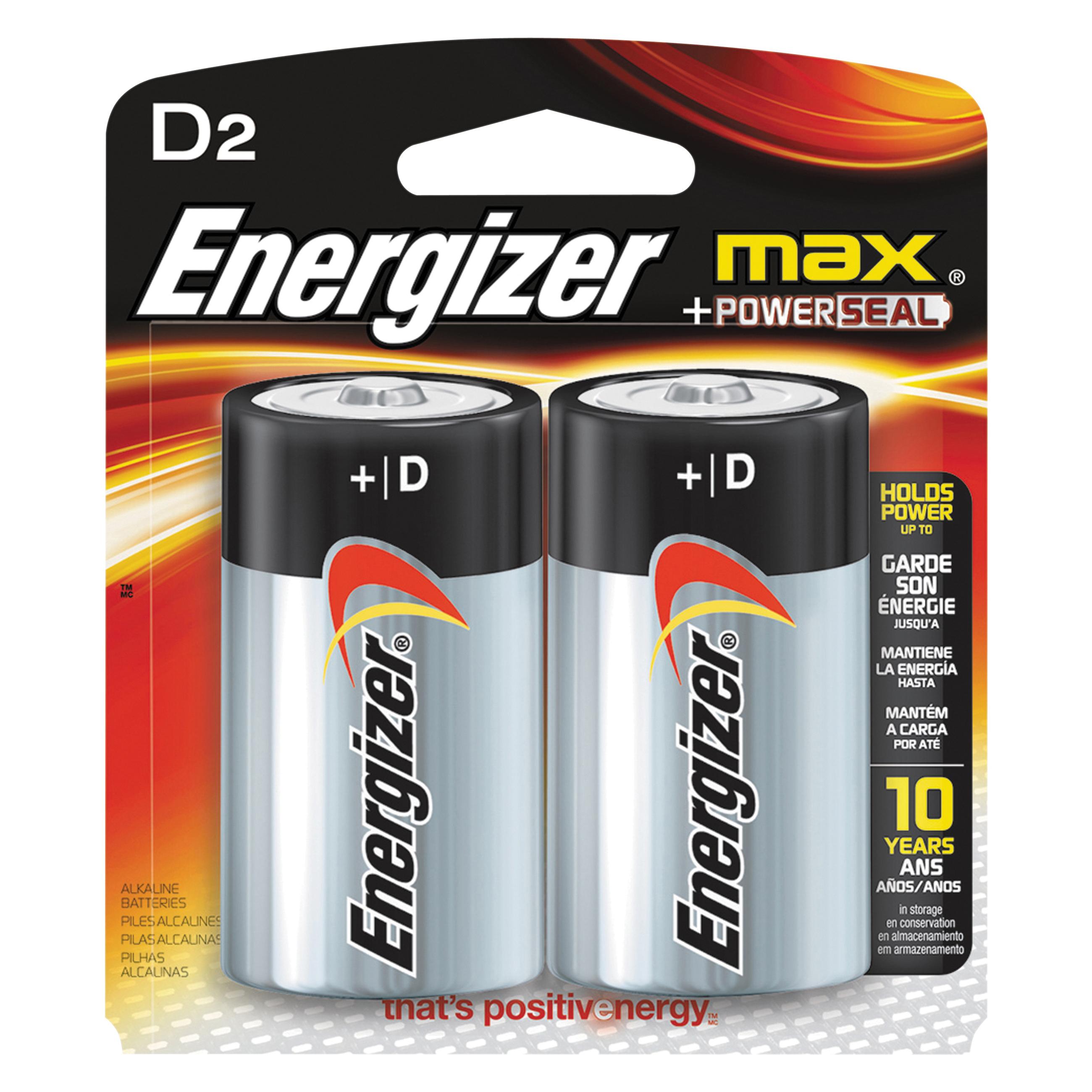Picture of Energizer E95BP-2 Alkaline Battery, 1.5 V Battery, D Battery, Zinc, Manganese Dioxide