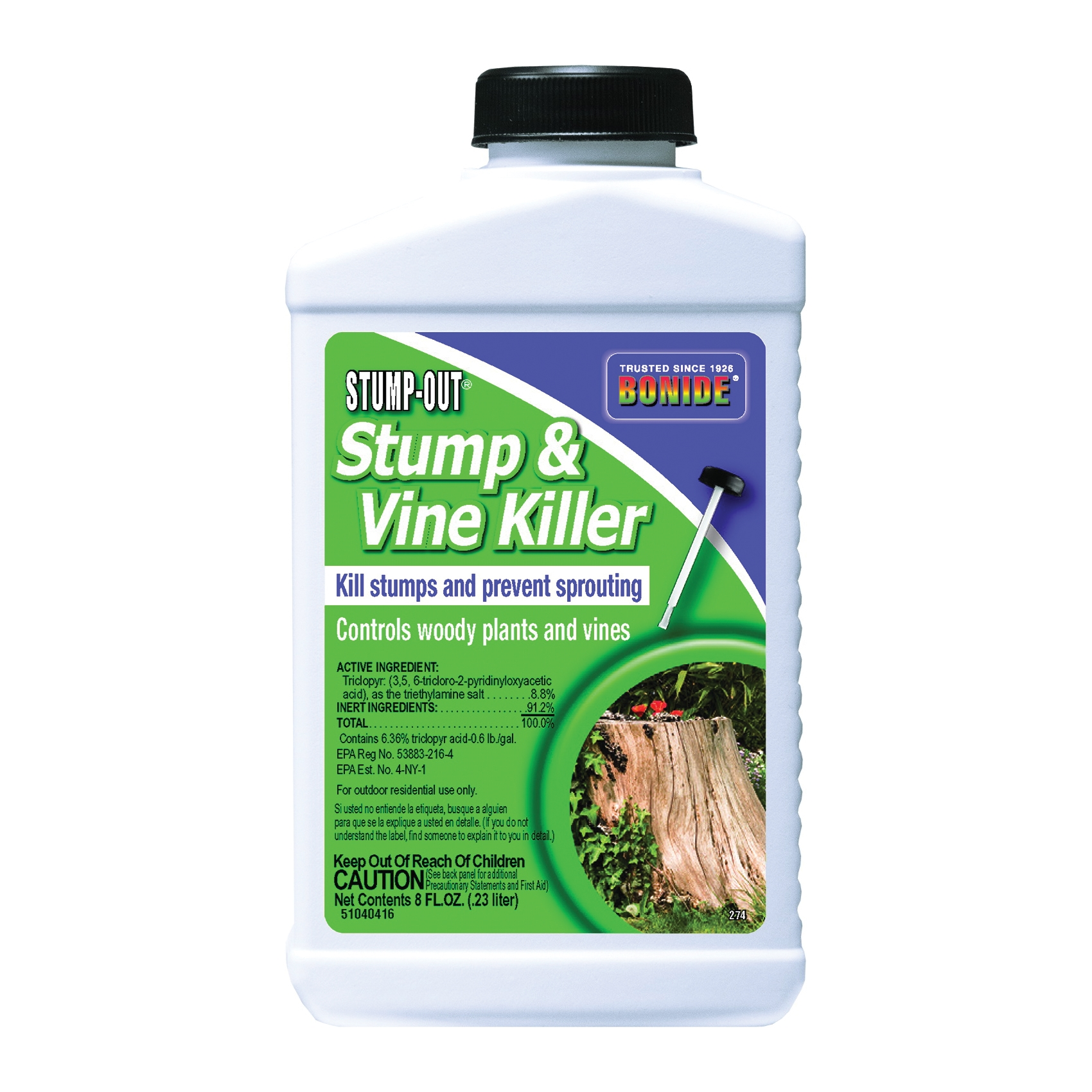 Picture of Bonide 274 Stump and Vine Killer, Liquid, Gold/Yellow, 8 oz Package, Bottle