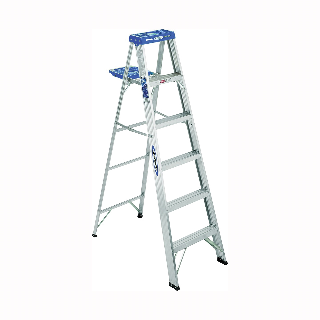 Picture of WERNER 363 Step Ladder, 7 ft Max Reach H, 250 lb, Type I Duty Rating, 3 in D Step, Aluminum, Blue