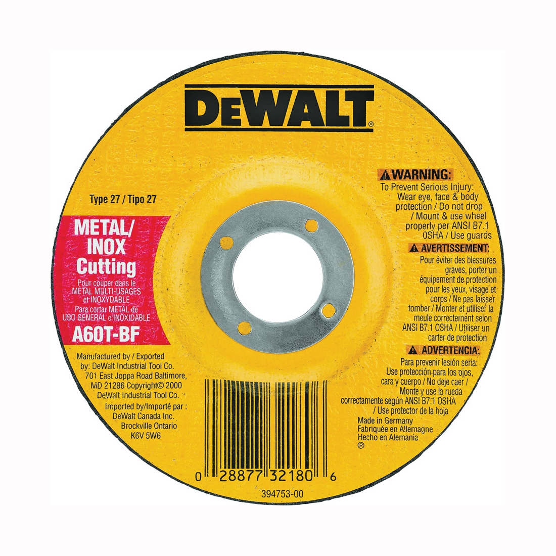 Picture of DeWALT DW8420 Cutting Wheel, 4 in Dia, 0.045 in Thick, 5/8 in Arbor, 60 Grit, Aluminum Oxide Abrasive