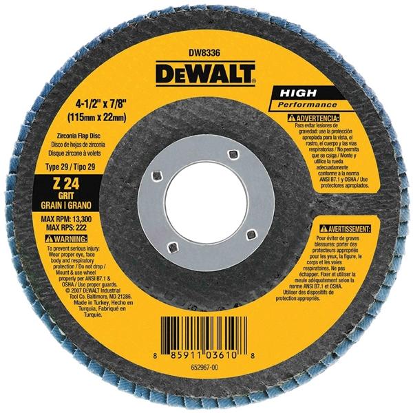 Picture of DeWALT HP Series DW8381H Flap Disc, 6 in Dia, 5/8-11 Arbor, 60 Grit, Premium, Zirconia Abrasive